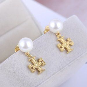 Tory Burch Gold Square Inlay Pearl Classic Earring